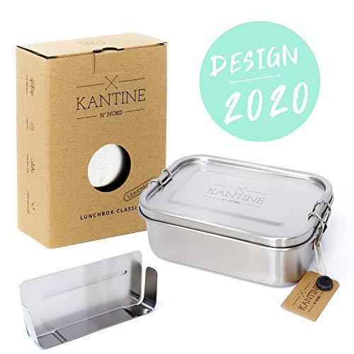 Kantine 51° Nord ® Lunchbox Classic | NEU 2020 | Auslaufsichere 800ml Edelstahl Brotdose mit 2 Fächern durch Flexible Trennwand
