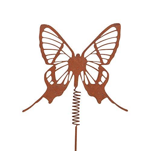 RM Design vlinder met wiebelveer tuindecoratie tuinsteker van patina metaal voor tuin, terras of balkon S bruin