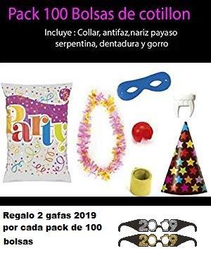Bolsas de cotillon 100 unidades + 2 gafas 2019