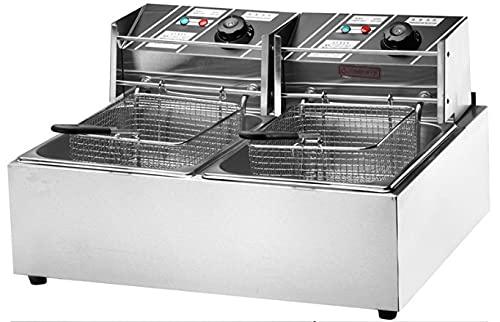 Friggitrice industriale doppia vasca 6+6 litri elettrica per alberghi