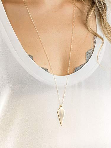 FDesigner - Collar largo geométrico con colgante de rombo de plata para mujeres y niñas