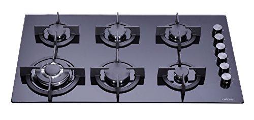 Millar GH9061PB Plaque de cuisson de 90 cm en verre trempé avec 6 brûleurs à gaz noir