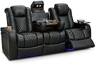 Seatcraft Anthem Home Theater Seating - Top Grain Leather - Power Recline Sofa - Fold-Down Table - Powered Headrests - Arm Storage - AC/USB and Wireless Charging - Cup Holders, Black