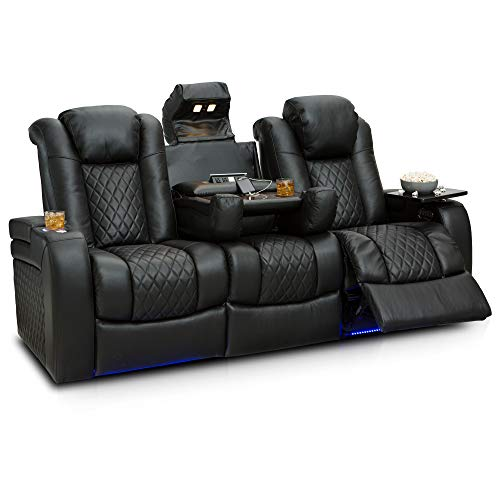 Seatcraft Anthem Home Theater Seating Leather Multimedia Power Recline Sofa with Fold-Down Table, Adjustable Powered Headrests, Storage, AC/USB and Wireless Charging and Cup Holders (Black)