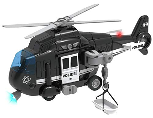 Liberty Imports Police Rescue Helicopter Friction Powered Toy Vehicle for Boys   Push and Go Chopper with Pretend Play Action Lights and Sounds