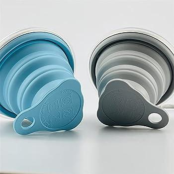 Lot de 2 gobelets pliables en silicone, sans BPA, gobelets de voyage pliables en silicone avec couvercles extensibles pour pique-nique, camping, randonnée, voyage (270 ml)