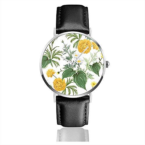 Gelbe Pfingstrosen Gänseblümchen Viele Arten Pflanzen Kamille Natur Lederband Armbanduhren Lässig Klassisch Edelstahl Quarzuhr