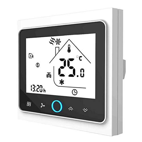 Termostato WiFi para caldera de gas, termostato inteligente pantalla LCD (TN pantalla) Touch Button retroiluminado programable con Alexa Google Home y teléfono APP-blanco/negro