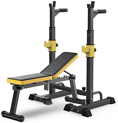 Cnley Banco de sentadillas con prensa multifunción, soporte ajustable para sentadillas, banco de prensa, portátil, para entrenamiento de cuerpo completo, interior y banco de prensa
