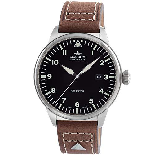 DUGENA Kappa 7000311 Airtrip - Reloj de pulsera automático para hombre (esfera negra, caja de acero inoxidable, cristal de zafiro, correa de piel, hebilla, 5 bares)
