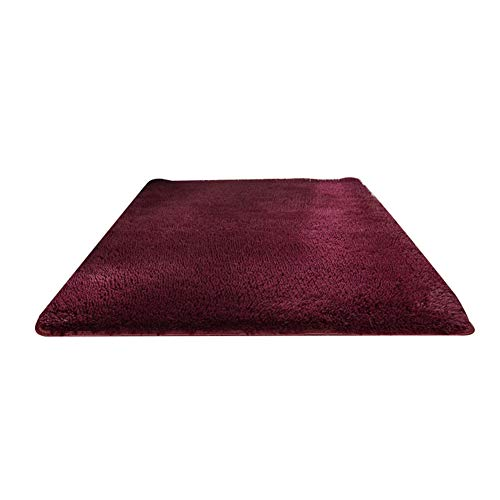 newhashiqi Estera piso dormitorio tatami, casa alfombra de noche color sólido rctangular gruesa alfombra sala dormitorio decoración vino rojo 50x120cm