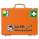 SÖHNGEN 0360111 Erste-Hilfe-Koffer Spezial Werkstatt, mit Wandhalterung, orange, ASR A4.3/DIN 13157 aus Kunststoff, mit PRÜFPLAKETTE