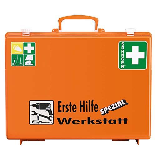 SÖHNGEN 0360111 Erste-Hilfe-Koffer Spezial Werkstatt, Verbandskoffer mit Wandhalterung, orange, ASR A4.3/DIN 13157 aus Kunststoff, mit PRÜFPLAKETTE