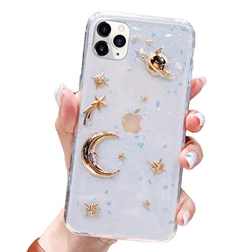 BONITEC for Apple iPhone 11 Pro Max Case 3D Bling Planet Glitter with Space Sparkle Moon Star Universe Flexible Soft TPU Transparent Clear Shockproof Protective Cases Cover Gold