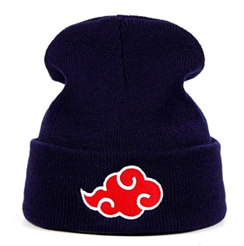 douzxc Hat Knitted Hat Beanie Hat  Akatsuki Logo Beanies Japanischen Anime Winter Gestrickte Hüte Stickerei Uchiha Warme Skullies Beanie Skifahren Stricken Hüte Hut Hip Hop,Marineblau