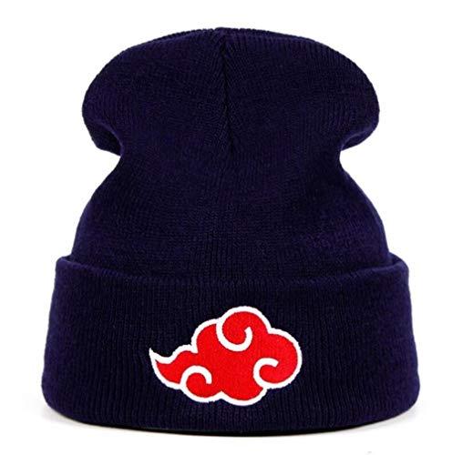 douzxc Hat Knitted Hat Beanie HatAkatsuki Logo Beanies Japanischen Anime Winter Gestrickte Hüte Stickerei Uchiha Warme Skullies Beanie Skifahren Stricken Hüte Hut Hip Hop,Marineblau