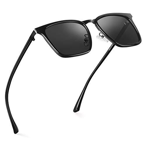 HODGSON Polarisierte Sonnenbrille für Herren und Damen Fahrradbrille Sportbrille Fahrer Brille für Wandern Motorradfahren Golfen und Fischen TR90 UV400 (Bright Black/Gray)