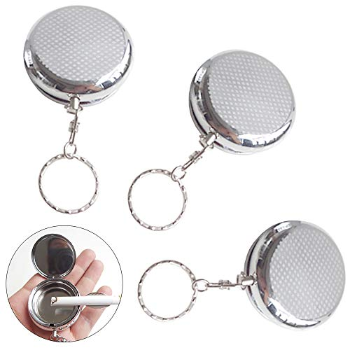 Ceqiny 3pcs Stainless Steel Circular Ashtray Portable Pocket Ashtray Key Chain with Cigarette Snuffer Vehicle Cigarette Ashtray with Keychain Mini Size Cigarette Ashtray for Outdoor Use, Silver