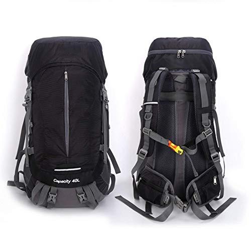 Zjcpow Camping mochila 40+10L senderismo mochila impermeable al aire libre para hombres mujeres, negro, Talla única