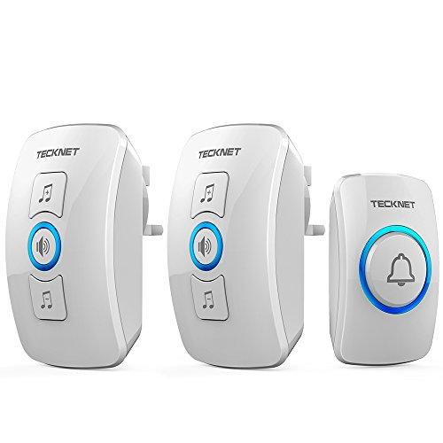 TECKNET Wireless Doorbell, Twin Waterproof Wall Plug-in Cordless Door...