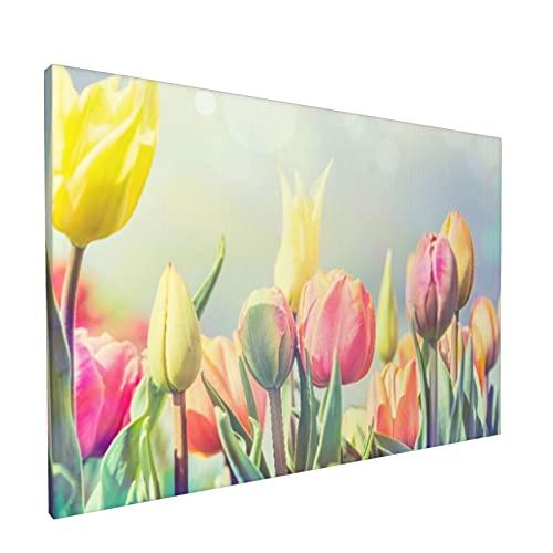 Arte de pared,Hermosa cama de flores de tulipanes en el par,pinturas al óleo enmarcadas impresas en lienzo Obra de arte moderna para sala de estar dormitorio decoración de pared de oficina