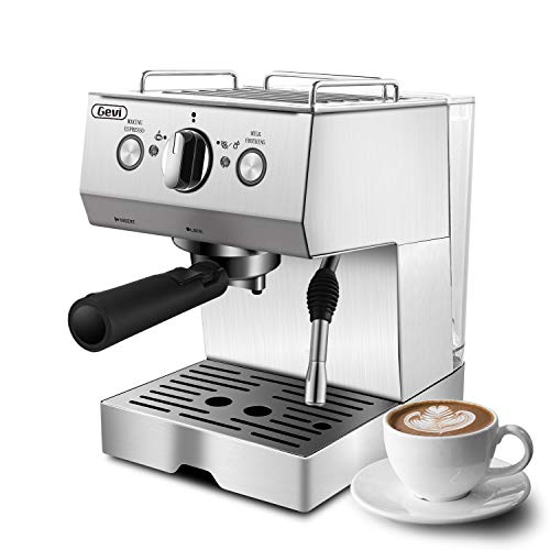 Espresso Machines 15 Bar Coffee Machine with Milk Frother Wand for Espresso, Cappuccino, Latte and Mocha, 1.5L large Removable Water Tank and Double Temperature Control System, Stainless Steel, Silver