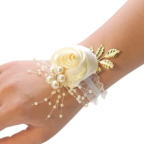 Egurs Pulsera de flores con perlas para mujer, para boda, graduación, vino tinto