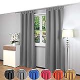 Gräfenstayn® Alana - cortina térmica opaca monocromática que oscurece la cortina con bucles - 135 x 245 cm (ancho x alto) - muchos colores atractivos (Gris)