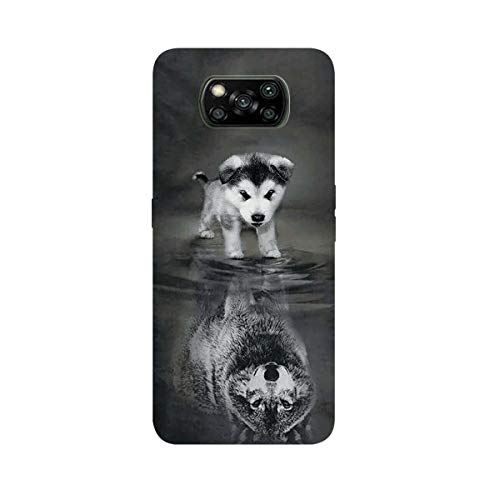 DiaryTown Hülle Kompatibel mit Xiaomi Poco X3 NFC/Xiaomi Poco X3 Pro Hülle, Ultra Dünn Silikon Stoßfest Schutzhülle mit Tier Muster Motiv Handyhülle Poco X3 NFC Weich TPU Schwarz Cover, Wolf A H&
