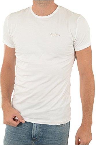 Pepe Jeans Original Basic S/S PM503835 Camiseta, Blanco (White 800), Large para Hombre