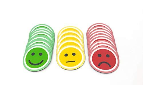 Tienda LEAN Smiley imán Redondo. Pack de 25 (10verdes, 10rojos y 5 Amarillos) Magnético (2,5cm)