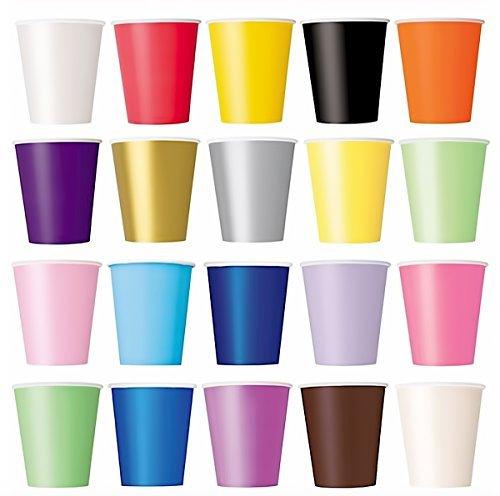 Lot de 50 gobelets pour boissons froides et chaudes en carton jetable écologique pour mariage, anniversaire, pique-nique, jardin, fête, barbecue – Violet, noir, jaune, rose, rouge (assortis)