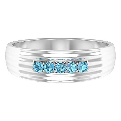 Anillo de cinco piedras, anillo de banda ancha, banda de aniversario para ella 14K Oro blanco