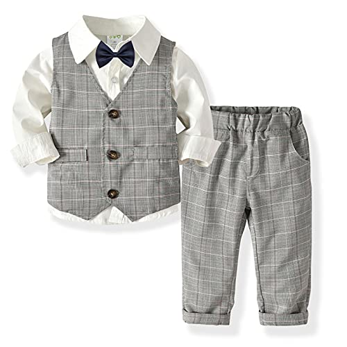 YWLINK 3 Piezas Trajes De BebéS NiñOs Chaleco + Camisa con Pajarita + Pantalones NiñO Caballeros Bautismo Boda Conjuntos De Ropa Trajes NiñO PequeñO Ropa Bautizo para Vestir Disfraz Boda