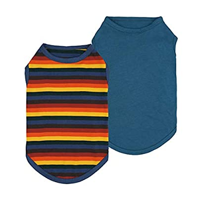 Fitwarm 2-Pack 100% Cotton Striped Dog Shirt for Pet Clothes Puppy Vest T-Shirts Cat Top Tee Breathable Stretchy Blue XS