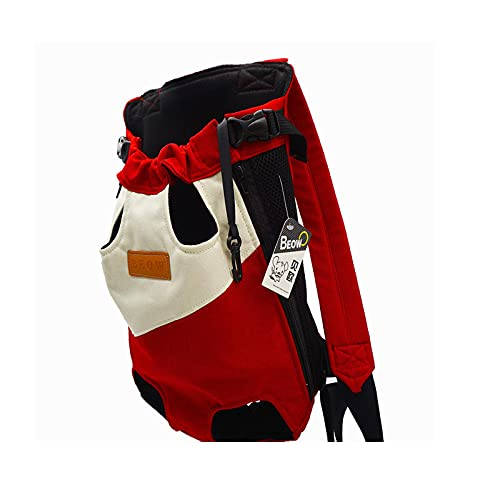 TIANLU Mochila para perros con bolsa de canguro en la parte delantera de mezclilla, correas anchas con hombreras, mochila ajustable para mascotas, para caminar, viajar, ir de excursión, acampar-S-rojo