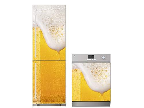 Oedim Pack Vinilo para Frigorífico + Vinilo para Lavavajillas Cerveza Espumosa | 70x200cm + 75x85cm | Adhesivo Resistente y Económico | Pegatina Adhesiva Decorativa de Diseño Elegante
