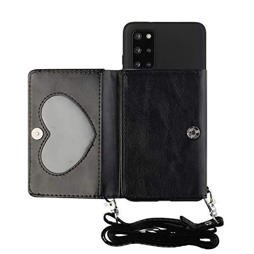 Miagon Halskette Hülle für Samsung Galaxy Note 20,Verstellbar PU Leder Brieftasche Handykette Schultergurt Silikon Handyhülle mit Band und Kartenhalter Kordel zum Umhängen,Schwarz