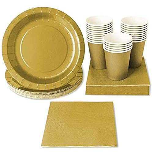 Juego de Vajilla Desechable - Servicio para 24 - Suministros Dorados para fiestas, incluye platos de papel, servilletas y vasos