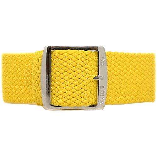 Da Luca, cinturino per orologio da polso, intrecciato e in nylon Perlon (con fibbia lucida), 20 mm, colore: giallo