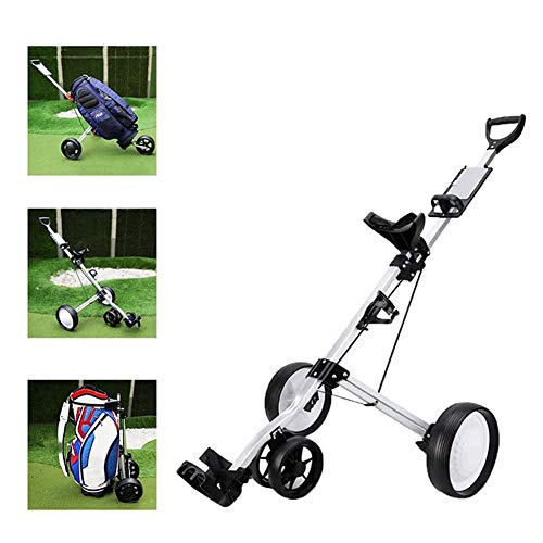 Amazing Deal Foldable 4 Wheel Push Pull Golf Cart, Push Pull Golf Cart Collapsible Cart with Adjusta...