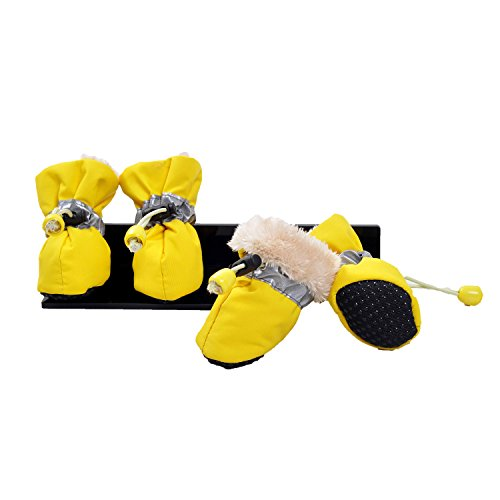 Ynport 4pcs Faux Fur Lined Winter Warm Pet Thick Dog Shoes Boots