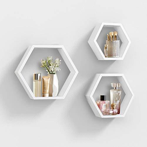 AHDECOR Estantería de Pared estantes de Pared hexagonales de 3 Estante Retro Colgantes Decorativo Baldas Flotante Pared Blanco
