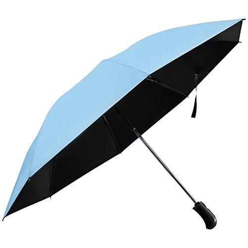 AKDSteel paraguas compacto plegable inversa paraguas protector solar a prueba de viento paraguas de viaje automático cierre abierto con 8 costillas, tamaño grande azul