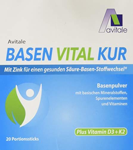 Avitale Basen Vital Kur Sticks plus Vitamin D3 + K2 mit Zink für einen ausgeglichenen Säure-Basen-Haushalt, 20 Stück