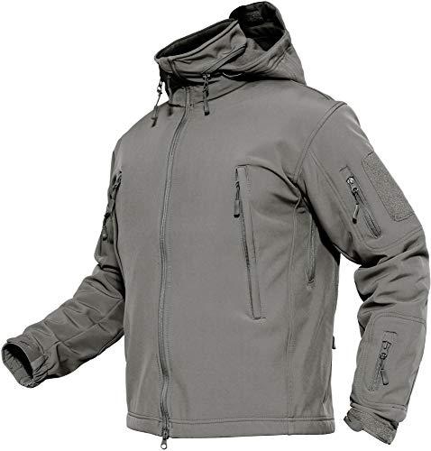 TACVASEN Herren Wasserdichte Softshell Fleece Outdoor Jacke mit Klappbare Kapuze, DE M (Tag L), Grau