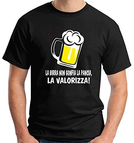 T-Shirt Uomo Nero T0990 la Birra Non gonfia la Pancia la valorizza Bevande Sballo