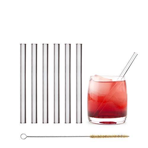 Halm Glas Strohhalme Wiederverwendbar Trinkhalm - 6 Stück kurz gerade 15 cm + plastikfreie Reinigungsbürste - Spülmaschinenfest - Nachhaltig - Glastrinkhalme Glasstrohalme für Tumbler Cocktailgläser