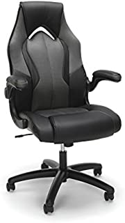 OFM Essentials Collection High-Back Racing Style Bonded Leather Gaming Chair, in Gray