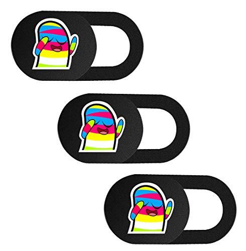 SIREG Webcam-Abdeckung, ultradünn, passend für Laptop, Tablet, Computer, Smartphone, schützen Sie Ihre Privatsphäre & Sicherheit, stark klebend, Regenbogenfarben, Schwarz, 3 Stück